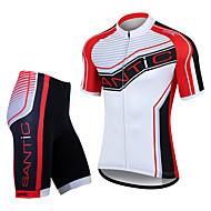 SANTIC Men's Cycling Jersey Short Sleeves + Shorts 100% Polyester MTB Cycling Suits(T-Shirt + Pants)