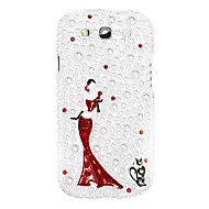 Dancing Girl Mønster Hard Case med Rhinestone til Samsung Galaxy S3 i9300