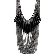 女性 ステートメントネックレス 樹脂 合金 ドロップ ファッション ブラック ジュエリー パーティー 1個