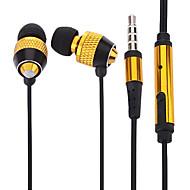 volume regelen van gouden 3,5 mm in-ear oortelefoon w / microfoon en clip voor iPhone 6 iphone 6 plus (132cm)