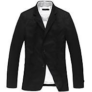 Men's Solid Casual Blazer,Cotton Long Sleeve Black / Yellow / Beige / Tan