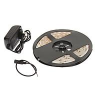 Vandtæt 5M 24W 60x3528SMD 900-1200LM 2800 3200K Warm White Light LED Strip Light med 12V 2A Adapter
