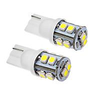2 Pcs T10 1W 10x3020SMD 70-90LM 6000K Cool White LED Light Bulb (12V)