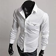 Men's Casual Shirt,Cotton Blend Long Sleeve Black / White