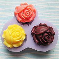 trois trous roses outils pour l'artisanat fleur moule en silicone moules fondantes de sucre en résine fleurs moules moules pour gâteaux