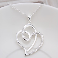 Necklace Pendant Necklaces Jewelry Thank You Party Daily Valentine Heart Heart Cubic Zirconia Copper Gift Silver