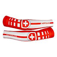 KOOPLUS - הלאומי השוויצרי צוות פוליאסטר + לייקרה אדומה + לבן רכיבה על אופניים Oversleeve