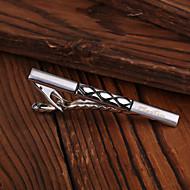 Homens presente personalizado Rhombus padrão gravado Metal Prata Clipe de gravata