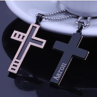 Gepersonaliseerde Gift Rose Gold Heren RVS Cross vormige gegraveerd hanger Ketting met 60cm Ketting