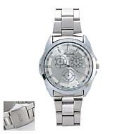 Gepersonaliseerde Gift Nieuwe Stijl Mannen White Dial Stainless Steel Band Contractueel  Analoge Gegraveerde Horloge