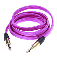 Noodle Style Weave Line Audio Jack Connection Cable(Purple 1.01m)