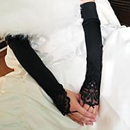 Operalengte Zonder vingers Handschoen Stretchsatijn Bruidshandschoenen Feest/uitgaanshandschoenen Lente Zomer Herfst