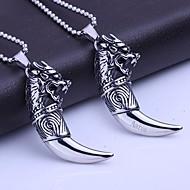 Personalizadas de los hombres regalo de la joyería del acero inoxidable colgante collar colmillo Shapes grabado de lobo con los 60cm Cadena