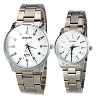 Couple's Diamante Sunlight Pattern Round Dial Alloy Band Quartz Analog Fashion Watch(Assorted Color)