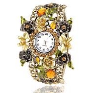 Women's Bohemia Style Champagne Flower Decor Bronze Alloy Quartz Bracelet Watch
