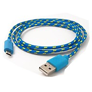 Details over 3ft vezelvlechtwerk Micro USB 2.0 Data Charger Cable voor Samsung Galaxy Note3 S3/S4 Blauw