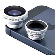 3-en-uno de gran angular magnética y macro y 180 ° de pescado lente del ojo set kit para el iphone, ipad y el otro teléfono móvil