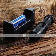 Mini LED ficklampa 7W 300LM CREE Q5 LED-ficklampa Justerbar Focus Zoom Ficklampa + 14500 3.6V batteri + batteriladdare