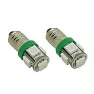 E10 1W 5X5050 SMD Green Lights Lâmpada LED para DIY (DC 12V, 2 pacotes)