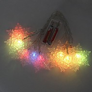 10 LED Battery Powered Color Changing Snowflake String Fairy Lights for Christmas Party (2xAA)