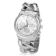 Women's Three Small Dial Decor Round Dial Alloy Band Quartz Analog Fashion Watch (Assorted Color)