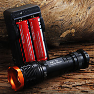 1set 1800LM Tactical zoombart CREE XM-L T6 LED 18650 lommelykt lommelykt Zoom Lamp Light + 2 x 18650 batteri + lader