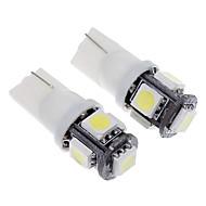 T10 1.5W 5-LED 120LM 6000K Cool White Light LED Bulb for Car(12V,2pcs)