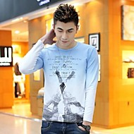 Men's Round Neck Slim Casual Long Sleeve Contrast Color T-shirts(Acc Not Included)