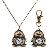 Woman's Penguin Pattern Metallic Necklace Watch/Keychain Watch (1pc) Cool Watches Unique Watches