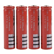 "Rechargeable 3.7V 18650 Li-ion ""4800mAh"" Battery - Red (4PCS)"