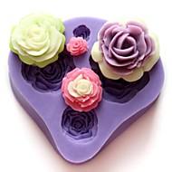 עובש ארבעה פרחים בצורת אופים fandant, L7cm * W7.3cm * H1.3cm