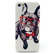 Coque pour iPhone 5/5S, Motif Bouledogue à Lunettes et Nœud Pap'