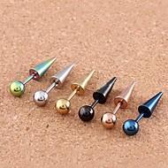 Lureme®316L Surgical Titanium Steel Pointed Ball Single Stud Earrings (Random Color)