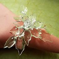 Folha Beads Flor Em multi cor do anel guardanapo, acrílico beades, 3.5cm, conjunto de 12,