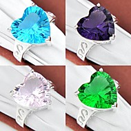 Classic Heart Green Quartz Pink Topaz Blue Topaz Amethyst Gemstone Silver Ring 1PC