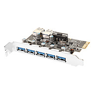 7-Port Superspeed USB 3.0 PCI-E Express Expansion Card with 5V 4-Pin Power Connector for Desktops