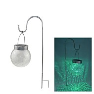 Color 2-LED Cambiare attaccatura Cracked Glass Ball Outdoor Garden Solar Light
