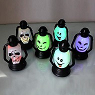 Coway Seven Color LED Nightlight Nightlight Halloween Supplies Smiley Skull(Random Color)