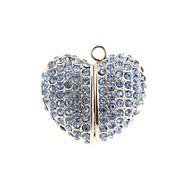 ZP 64GB Blue Jewel Heart Pattern Bling Diamond Metal Style USB Flash Drive