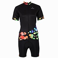 PaladinSport  New Cycling Jersey  Women's  Color Dots Style 100% Polyester Short Sleeve Cycling Suit Black