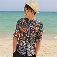 Men's Lapel Neck Floral Print Sheath Shirt