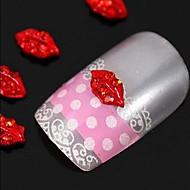 10pcs   Sexy Red Lips 3D DIY Rhinestone Alloy Jewel Accessories Nail Art Decoration