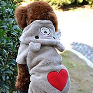 개 다양한 크기의 심장 패턴 귀여운 곰 모양 후드 정장