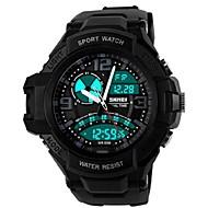 skmei® Männer runden Zifferblatt PU-Band Outdoor-Sport zwei Zeitzonen LED-Armbanduhr 50m wasserdicht