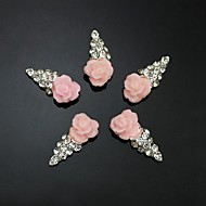 10pcs   Pink Flower Shape IceCream 3D Rhinestone DIY Accessories Nail Art Decoration