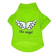 Cães Camiseta Verde Roupas para Cães Verão Primavera/Outono Anjo e Diabo Casual