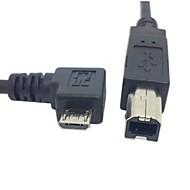 標準Bタイプのプリンタ、スキャナ、ハードディスクケーブル0.3メートル1フィート直角90度マイクロusbのOTG送料無料