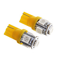 t10 1w 100lm 5 × 5050 SMD-LED gult lys til bilens instrumentbræt / dør / trunk lamper (DC12V 2pcs)