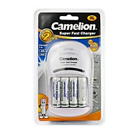 Camelion Super Fast Charger for AA/AAA Battery with 4 pcs AlwaysReady 2300mAh Ni-MH AA Rechargeable Batteries