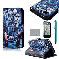 スクリーンプロテクターとココfun®青狼パターンPUレザーフルボディケース、iPhone 4 / 4Sのために立って、スタイラス